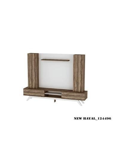 Sanal Mobilya Hayal 124496 Tv Ünitesi Leon Ceviz/Parlak Beyaz Beyaz